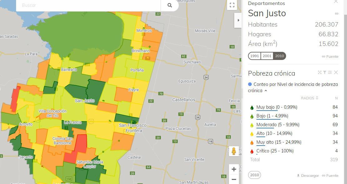 mapa pobreza san justo